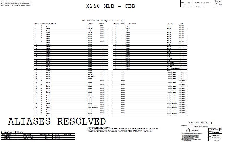 Schemat Apple MacBook 12' Retina A1534 X260 MLB 820-00244 051-00532